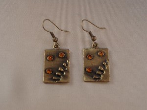 Dangling Squares Bronze Earrings, Topaz CZ Stones, European Fashion Jewelry
