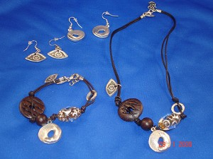 Dark Brown Evil Eye Genuine Leather Set of Necklace, Bracelet & Earrings, Protects from Evil Spirit, European Fashion Jewelry