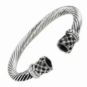 Designer`s Touch Black Diamond Cuff Bracelet Twisted Wire Cable, Rhinestones