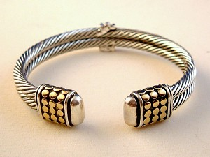 Designer`s Touch, Dual Twisted Rope / Cable Cuff Bangle Bracelet, Silver Finish Metal w/ Gold Ornament, Anti-allergic Jewelry