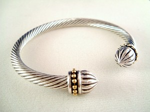 Designer`s Touch Twisted Rope Cable Cuff Bracelet Silver Gold Tone