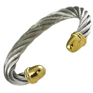 Designer`s Touch, Twisted Rope / Cable Cuff Bangle Bracelet, Silver & Gold Finish Metal, Anti-allergic Jewelry