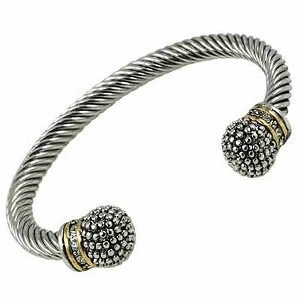 Designer`s Touch Two-Tone Silver Cuffs Twisted Wire Cable Bracelet, Vintage Style