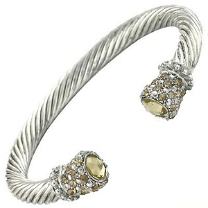 Designer`s Touch Yellow Sapphire Cuff Bracelet Twisted Wire Cable, Rhinestones