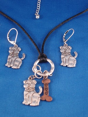 Dog Lovers Set of Necklace & Earrings, Black Cord, Anti-allergic Metal