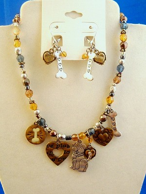 Dog Lovers Set of Necklace & Earrings, Dog, Heart & Bone Pendant Charms, Multicolor Beads, Silver & Bronze Tone Anti-allergic Metal