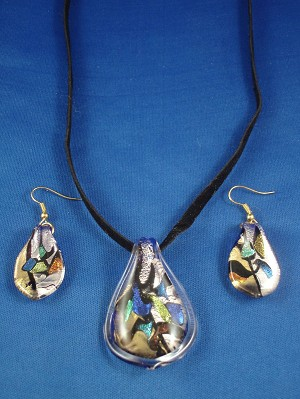 Beach Colors Drop Shape Stained Glass Pendant Necklace & Earrings