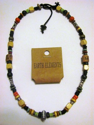 Bermuda Earth Elements Spiritual Beaded Necklace, Beach Surfer Men's Jewelry