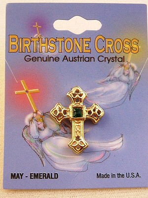 Emerald-May Birthstone Cross Pin, Genuine Austrian Crystal, Gold Finish Metal