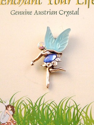 Enchant Your Life, Blue Faerie Pin, Genuine Austrian Crystal, Silver Finish Metal