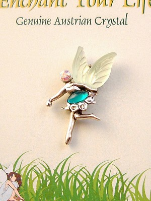Enchant Your Life, Green Faerie Pin, Genuine Austrian Crystal, Silver Finish Metal