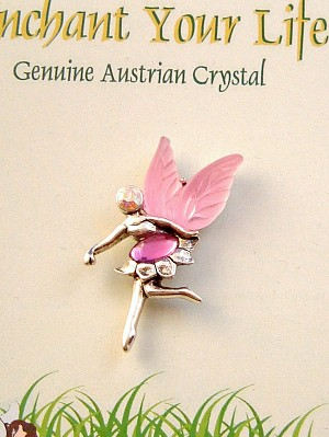 Enchant Your Life, Pink Faerie Pin, Genuine Austrian Crystal, Silver Finish Metal
