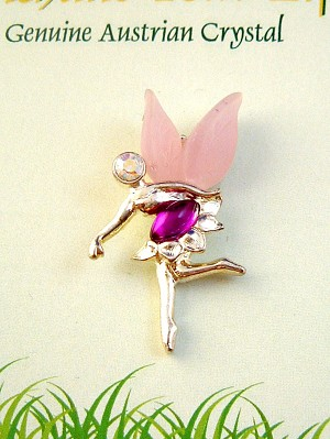 Enchant Your Life, Purple Faerie Pin, Genuine Austrian Crystal, Silver Finish Metal