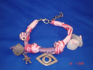 Evil Eye Charm Contemporary Bracelet with Genuine Stones & Pink Cotton Cord