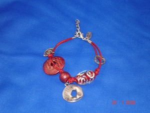 Evil Eye Charm Red Contemporary Leather Bracelet