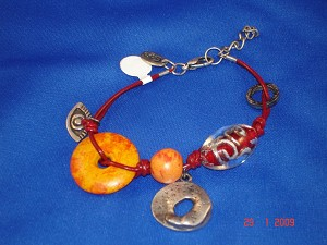 Evil Eye Charm Red & Orange Contemporary Leather Bracelet
