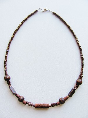 Evil's Eye Copper Men's Surfer Style Beaded Choker Necklace, Unisex Beach Jewelry