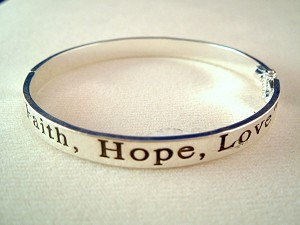 Faith, Hope & Love Inspirational Bangle Bracelet, Silver Finish Metal, Anti-allergic Jewelry