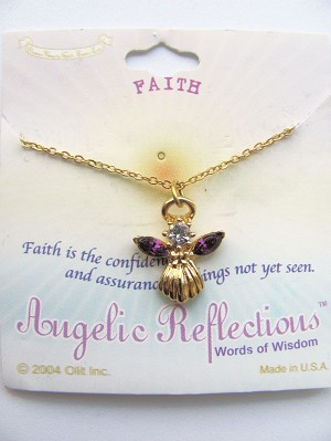 Faith Inspirational Amethyst-Purple Angel Pendant Necklace Gold Tone