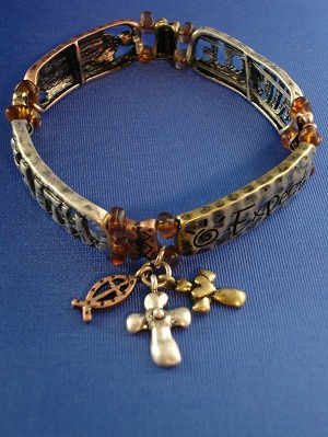 Faith Inspirational Stretching Bangle Bracelet, Cross & Fish Charms, Cooper, Bronze & Silver Tone, Anti-allergic Jewelry