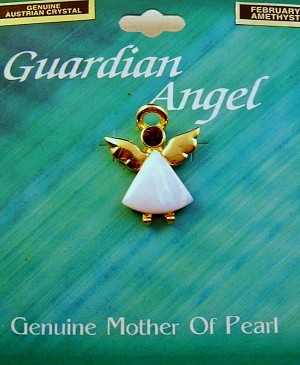 Amethyst-February Birthstone Guardian Angel Pin, Genuine Mother-of-Pearl & Austrian Crystal