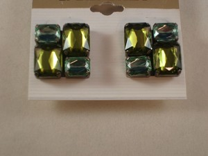 Four Green Glass Stones Clip Square Earrings, Anti-allergic Jewelry