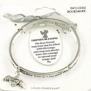 Friend's Blessing Bracelet Inspirational Message Angel Charm Silver