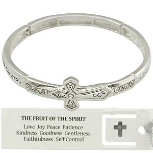 Fruit of The Spirit Cross Bracelet CZ Stones, Inspirational Message Stretching Silver Bangle