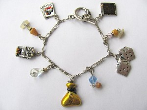 Gambler Charm Bracelet, Slot Machine Dices Bingo Playing Cards Money Bag  Charms