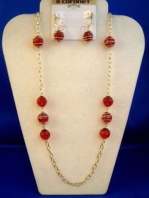 "Garnet Red Beads Set of 36"" Necklace & Earrings, Gold Finish Chain, Anti-allergic Jewelry"