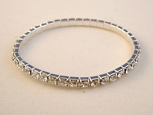Genuine Austrian Crystals Stretching Bangle Bracelet, Clear Diamond Color, Anti-Allergic Jewelry