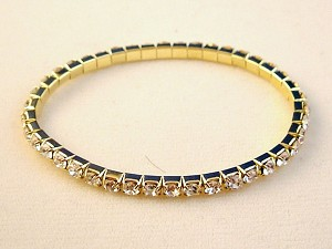 Genuine Austrian Crystals Stretching Bangle Bracelet, Clear Diamond Color, Yellow Gold Finish Metal, Anti-Allergic Jewelry