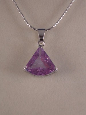 "Genuine CZ Stone Necklace, 5/8"" Purple Crystal Pendant, 16"" Chain"
