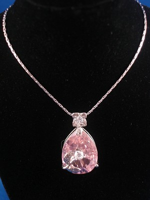 "Genuine CZ Stones Necklace, 1"" Pink Crystal Rose Pendant, 16"" Chain"