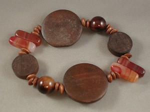 Genuine Carnelian Stones Brown Contemporary Bracelet, Wooden Beads