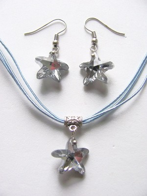 Genuine Crystal StarFish Sea Star Charm Blue Necklace Earrings Set