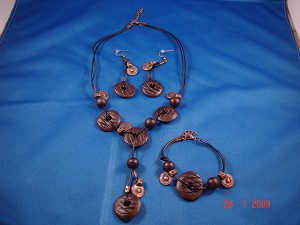 Genuine Leather, Ceramic Beads & Cooper Charms Set of Necklace & Bracelet & Earrings, European Fashion Jewelry