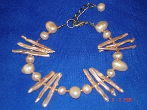 Genuine Mother-of-Pearl Contemporary Bracelet, Beige Color, European Fashion Jewelry