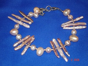 Genuine Mother-of-Pearl Contemporary Bracelet, Smoked Color, European Fashion Jewelry