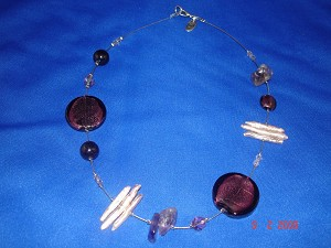 Genuine Mother-of-Pearl & Stones Contemporary Necklace, Dark Purple Color