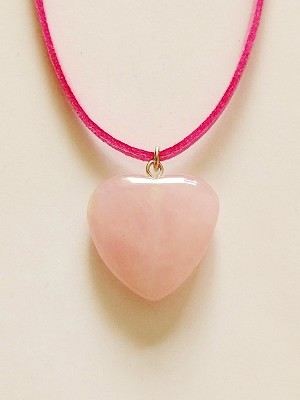 Genuine Rose Quartz Heart Pendant Summer Beach Necklace