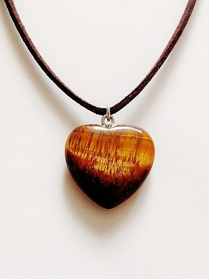 Genuine Tiger's Eye Heart Pendant Summer Beach Necklace