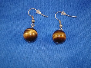 Genuine Tiger`s Eye Stones Contemporary Ball Earrings