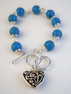 Genuine Turquoise Ball Beads Vintage Heart Charm Bracelet