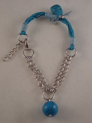 Genuine Turquoise Faux Stones Contemporary Bracelet