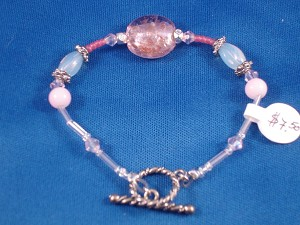 Pink Stained Glass Beads Bracelet, Non-Allergic Jewelry