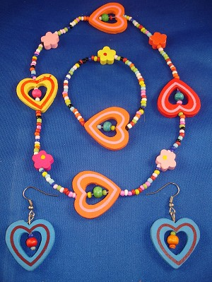 Little Girl Summer Colors Hearts Necklace Bracelet Blue Earrings, Non-Allergic Jewelry