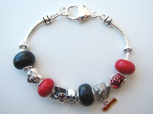 Glory & Love Charm Bracelet, Skull Red Rose Black Hat Bead Eagle Pandora Inspired
