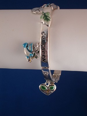 """Go Green"" Charm Stretching Bangle Bracelet, Peace Bird, Heart, Sun, Tree,  Anti-allergic Jewelry"