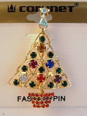 Gold Christmas Tree Pin & Star, Red Green Blue Purple Yellow Austrian Crystals
